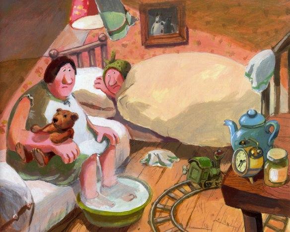 """Ilustración de Sonja Bougaeva para """"Dos hermanas reciben visita"""""""
