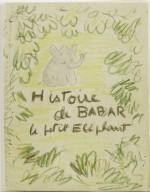Primer boceto de Jean de Brunhoff para la portada de Historia de Babar