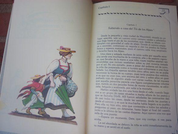 Tomi Ungerer ilustró Heidi en 1978 tras el éxito televisivo. La egoísta tía Dete arrastra a una ingenua Heidi a casa del huraño abuelo. Anaya, 1984. Colección Laurín. Hoy agotada.